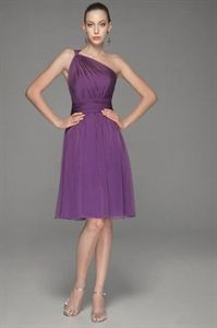 Purple One Shoulder Bridesmaid Dress, Chiffon Short Bridesmaid Dresses   $96.00
