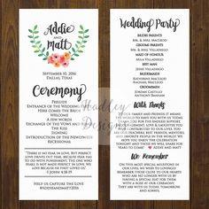 Printable Wedding Program - the Chloe collection | Wedding ...
