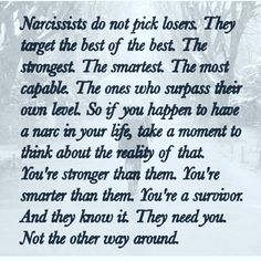 This isn't true, honestly. What is true is that they pick the kindest, the most empathetic and those who are most likely to sacrifice themselves when they care about someone else. They pick those with best hearts -- and that's important to understand. Narcissistic People, Narcissistic Behavior, Narcissistic Abuse Recovery, Narcissistic Sociopath, Narcissistic Personality Disorder, Psychopath Sociopath, Wisdom Quotes, Words Quotes, Life Quotes