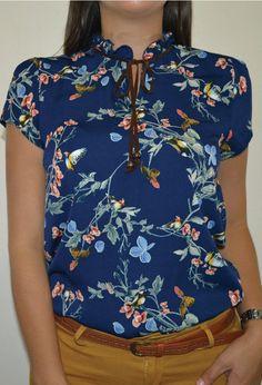 Blusa flores con pajaritos