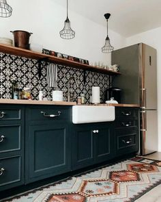 on The cutest airbnb kitchenette in all the land. Boho Kitchen, Home Decor Kitchen, Rustic Kitchen, Interior Design Kitchen, Kitchen Furniture, New Kitchen, Home Kitchens, Small Kitchens, Kitchen Ideas