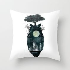 March of the Forest Spirits Throw Pillow by M. Vander - $20.00
