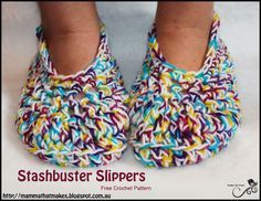 Mamma That Makes: Stashbuster Slippers - Free Crochet Pattern