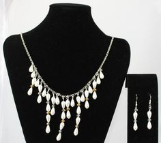 White Pearl Like Beads With Crystals And Matching Earrings