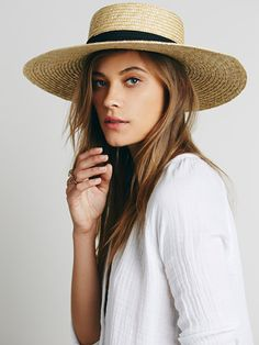Spencer Wide Brim Boater | Natural straw wide brim boater hat with a flat crown and grosgrain ribbon trim. Comfortable ribbon liner. *By Lack of Color