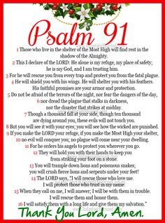 """PSALM 91... MY absolute favorite Psalm! It has gotten Me through some very tough struggles in my life... I pray it for myself and my kid's, interjecting their names in place of """"I""""... The Lord hears us whenever we pray, But I strongly believe that this Psalm (next to The Lord's prayer) has powerful results in deliverance from harm of the enemy. It worked for King David!  Blessings to all who may pin it!!"""