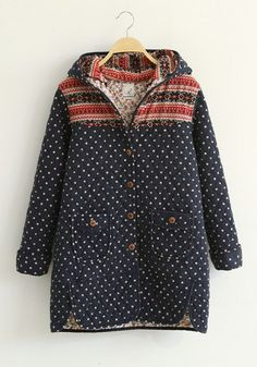 Beige Floral Print Buttons Pockets Cotton Blend Hoodie