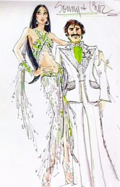 Sonny & Cher as illustrated by Bob Mackie