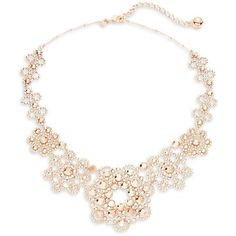 Kate Spade New York Crystal Lace Floral Bib Necklace ($248) ❤ liked on Polyvore featuring jewelry, necklaces, accessories, rose gold, floral jewelry, crystal stone necklace, flower bib necklace, flower jewellery and kate spade