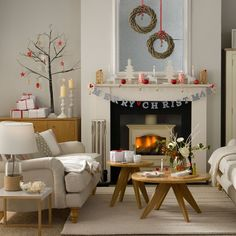 Christmas living room with simple Scandi-style decorations | Budget Christmas decorating ideas | housetohome.co.uk