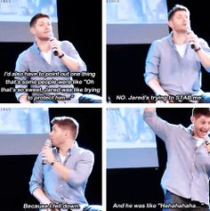 [gifset] Jensen told the story about him falling down in (8x20 LARP and The Real Girl ) the Season 8 gag reel. #JibCon14 #Jensen