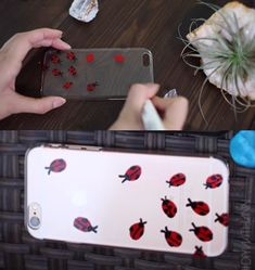 Use a clear case to make it look like little ladybirds are crawling up your phone. | 17 Cheap And Easy DIY Phone Cases You Can Make At Home Right Now