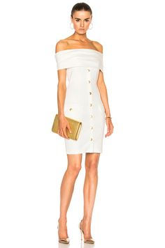 Pierre Balmain Off The Shoulder Mini Dress in Off White - Engagement Party @fwrd