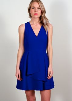 Adelyn Rae ruffled fit & flare- electric blue; fit & flare tank dress featuring slender cut out detailing at shoulder an asymmetrical ruffled hem & exposed back zipper, flirty feminine date night ready dress, cocktail party dress, wedding party dress, beautiful & vibrant must have dress for 2016