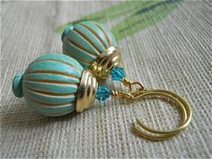 Wooden Balloon earrings with Gold Swarovski crystals by JoJosgems, $15.00