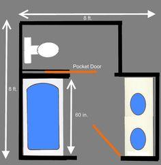 Private Toilet Area Behind Pocket Door