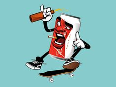 Beer Can riding skateboard