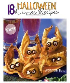 See 18 Halloween Dinner Recipes-So yummy! Wonton Bats and more