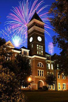 Fireworks behind Tillman Hall, Clemson University. Clemson University Football, Clemson Tiger Paw, Tiger Love, Tiger Girl, University Of South Carolina, Blue Ridge, Fireworks, Alma Mater, Orange Crush