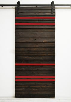 "Pops of color (pick your own) alternate with beautifully stained strips of solid wood. Standard door sizes are 82""H x 36""W and the larger 96""H x 48""W. Our collection of Dogberry sliding barn doors has"