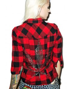 Can actualy say.i own the guys version.of this...#DollsKill #lookbook #photoshoot #model #HazmatDesign #420 #flannel #shirt #studded #studs #weed #leaf #red #plaid