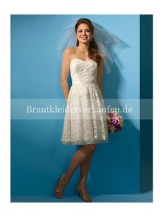 Mode A-Linie Trägerloser Ausschnitt Satin Spitze Knielang Hochzeitskleid WS0027