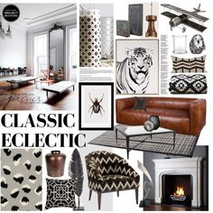 Classic Ecletic by szaboesz on Polyvore featuring interior, interiors, interior design, home, home decor, interior decorating, Flamant, AERIN, Allan Copley Designs and CB2