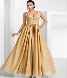 109.99  Linha A Decote V Longo Chiffon Evento Formal Vestido com Broche  de Cristal   Franzido de TS Couture® cb0c63a4117d