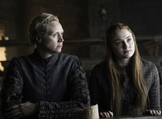 """Gwendolyn Christie as Brienne of Tarth, and Sophie Turner as Sansa Stark in theSunday, May 22 episode, """"The Door."""""""