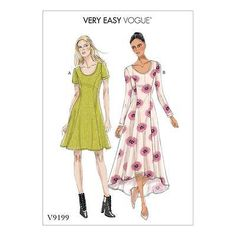 VOGUE SEWING PATTERN VERY EASY VOGUE MISSES' PULLOVER DRESS SIZE 6 - 22 V9199