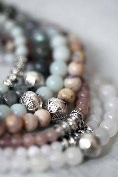 Love layered beads on my wrist. Semi precious stones make them feel luxurious and unique. <3