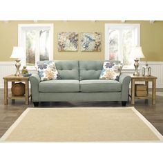 Signature Design by Ashley 'Kylee' Lagoon Contemporary Sofa and Accent Pillows | Overstock.com Shopping - Great Deals on Sofas & Loveseats