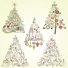 Nothing says Christmas like a #Christmas #tree! This vector image has 5 trees to pick from, perfect your for holiday cards and scrap books.