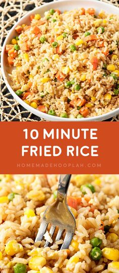 10 Minute Fried Rice! Need a new go-to side dish for busy weeknights? Making fried rice at home is always a great staple, and this easy recipe comes together in just 10 minutes!   HomemadeHooplah.com