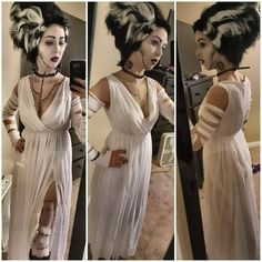 Halloween costume Bride of Frankenstein white dress V neck chiffon evening long maxi Sun dress all size - Christmas Deesserts Bride Of Frankenstein Halloween Costume, Bride Of Frankenstein Costume, Unique Couple Halloween Costumes, Family Costumes, Halloween Couples, Group Costumes, Halloween Outfits, Homemade Costumes, Diy Costumes