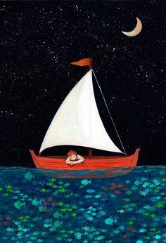 Art sea Illustration art by Helena Perez Garcia Ocean Illustration, Graphic Design Illustration, Watercolor Illustration, Angst Im Dunkeln, Boat Cartoon, Sea Drawing, Boat Painting, Ocean Art, Poster