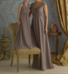 Gray Silver Low Back Chiffon Long Bridesmaid Dress Gown/Maid of Honor/Junior Bridesmaid/Formal Evening/Cheap/Custom made/2014 New on Etsy, $99.99