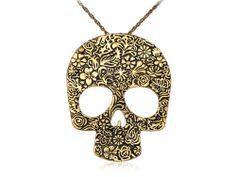 Golden Tone Rose and Flowers Dia De Los Muertos Skull Head Pendant Necklace Alilang,http://www.amazon.com/dp/B00GK6BX22/ref=cm_sw_r_pi_dp_PFe1sb0PJ9EW6Z4F