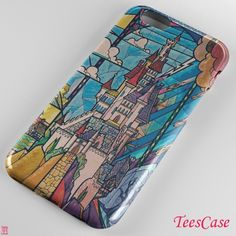 DISNEY BEAUTY AND THE BEAST STAINED GLASS -1784- for iPhone 7 case, iPhone 6/6S Plus, iPhone 5/5S case, HTC case, samsung galaxy case, galaxy S5/S6/S7/S8 and samsung galaxy other - TeesCase