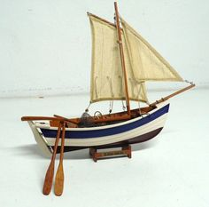 Vintage model  scale fishing boat nautical decor by DACAIS on Etsy, $55.00