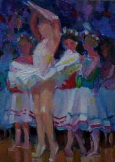 LITTLE BALLET DANCERS MINIATURE PAINTING, painting by artist Elizabeth Blaylock