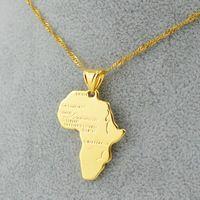 3 tamaño / áfrica mapa colgante collar de la mujer chica 18 K chapado en oro fillde hombres de joyería, 45 cm / 60 cm oro africano regalo venta al por mayor 22