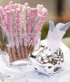 Chocolate- Coated Pretzel Sticks. I prefer pink or pink and gold.