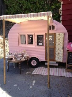 Miniature camper by Kim Saulter Tiny home house on wheels, pink travel trailer, glam glamour camping glamping, homemade awining, perfect little guest house. Vintage Caravans, Vintage Travel Trailers, Tiny Trailers, Camper Trailers, Shasta Trailer, Retro Trailers, Retro Campers, Happy Campers, Camping Vintage