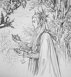 Birds and Thranduil by evankart on DeviantArt Hobbit Art, O Hobbit, Fanart, Legolas And Thranduil, Jrr Tolkien, Middle Earth, Lord Of The Rings, Fantasy Art, Coloring Pages