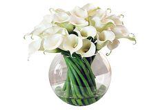"WINWARD Calla Lily in Glass  --  745.00 retail (wow!)  --  17""dia x 14.5""h"