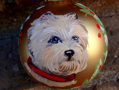Cairn Terrier Christmas Ornament Hand Painted Buff Colored Cairn Holiday Glass | eBay