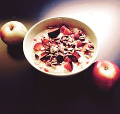 Healthy start :) #millet #bakedfruits #gojiberries #apples #pear #ricemilk #healthyfood