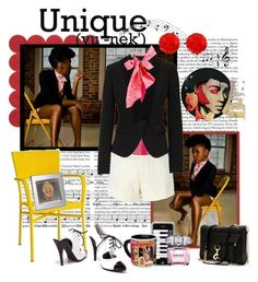 Janelle Monáe! by roargirl on Polyvore featuring polyvore fashion style Rue Du Mail D&G United Bamboo Rebecca Minkoff Tarina Tarantino Versace Pier 1 Imports Tiffany & Co. Daisy Hill Music Notes clothing polka dots boyfriend blazers oxford pumps blazers tuxedo shirt printed scarves pink ascot