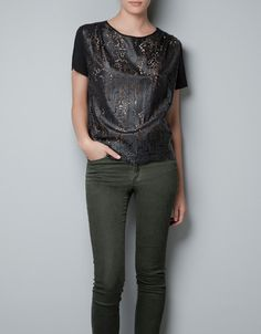 Faux Leather Cut Work Top